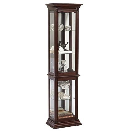 Pulaski English Curio Cabinet, 18u0026quot; X 11u0026quot; X 70u0026quot;, Dark Cherry