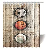 InterestPrint Sports Decor Shower Curtain, Baseball Soccer Basketball Ball Embedded in Stone Wall Fabric Bathroom Shower Curtain with Hooks, 60 X 72 Inches