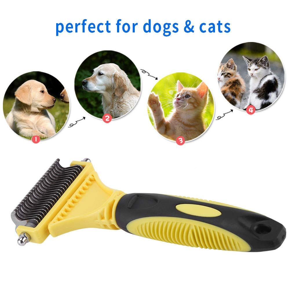 Pet Comb for Dogs Cats - Pet Grooming Rake Handheld Undercoat Grooming Tool for Long or Short Hair