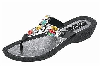 c64bb8c713a34 Grandco Aruba Thong Sandals - Black - 6