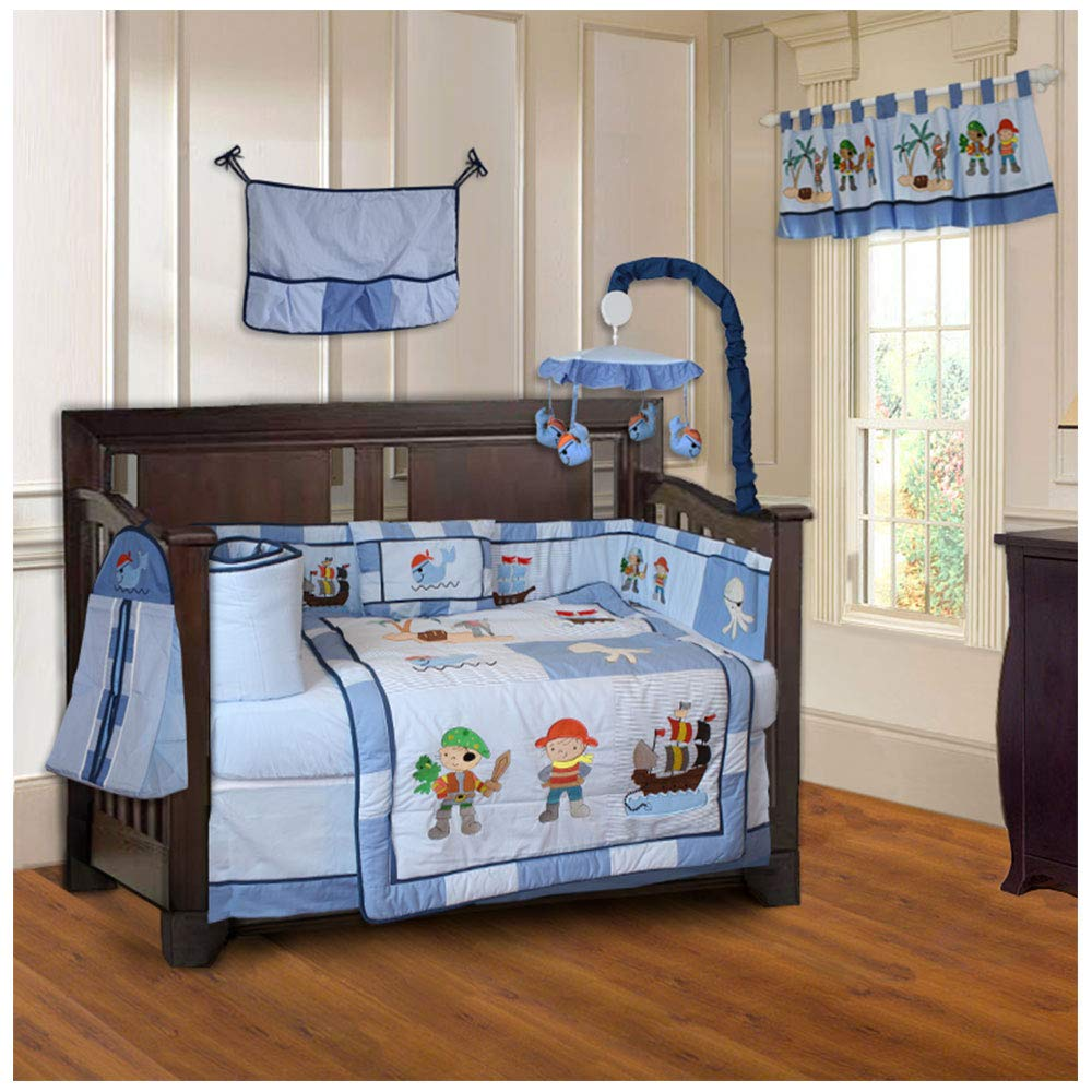 BabyFad Anchor Chevron Zig Zag 10 Piece Baby Crib Bedding Set