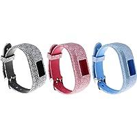 ECSEM 3pcs Large Bands Compatible with Garmin Vivofit JR/Vivofit JR.2/ Vivofit 3, Replacement Patterning Soft Silicone Wristbands Watch Straps