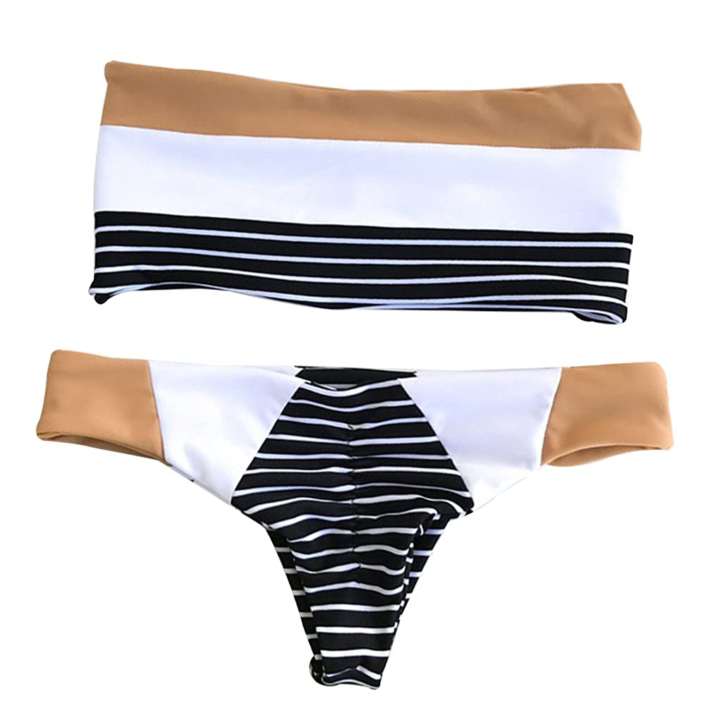EGELEXY Women Summer Off Shoulder Bikini Striped Beach Wear Swimwear Swimsuit F493