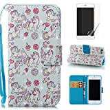 For iphone 5/5S iphone SE Case with Card Slot,OYIME [Unicorn and Ice Cream] 3D Pattern Design Bookstyle Leather Wallet Holster Kickstand Function Full Body Protective Bumper Magnetic Closure Flip Cover with Wrist Lanyard and Screen Protector