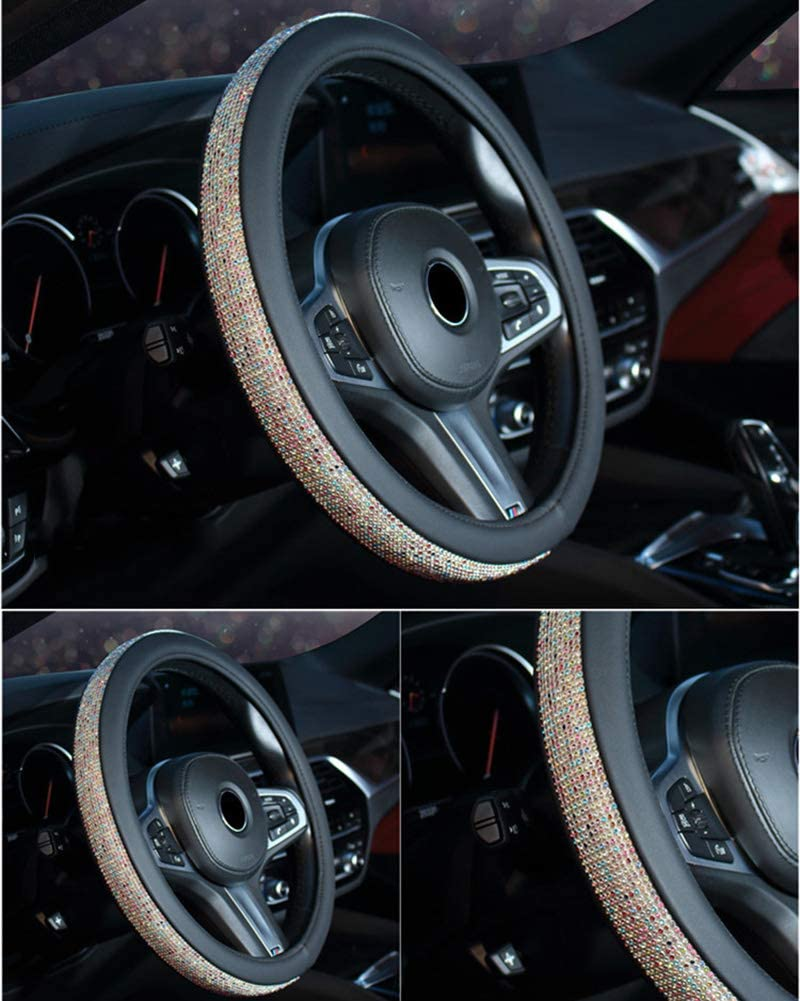 Steering Wheel Cover With Dotted Sparkling Rhinestones Car Steering Wheel Sleeve Protector Pink Colorful 38CM