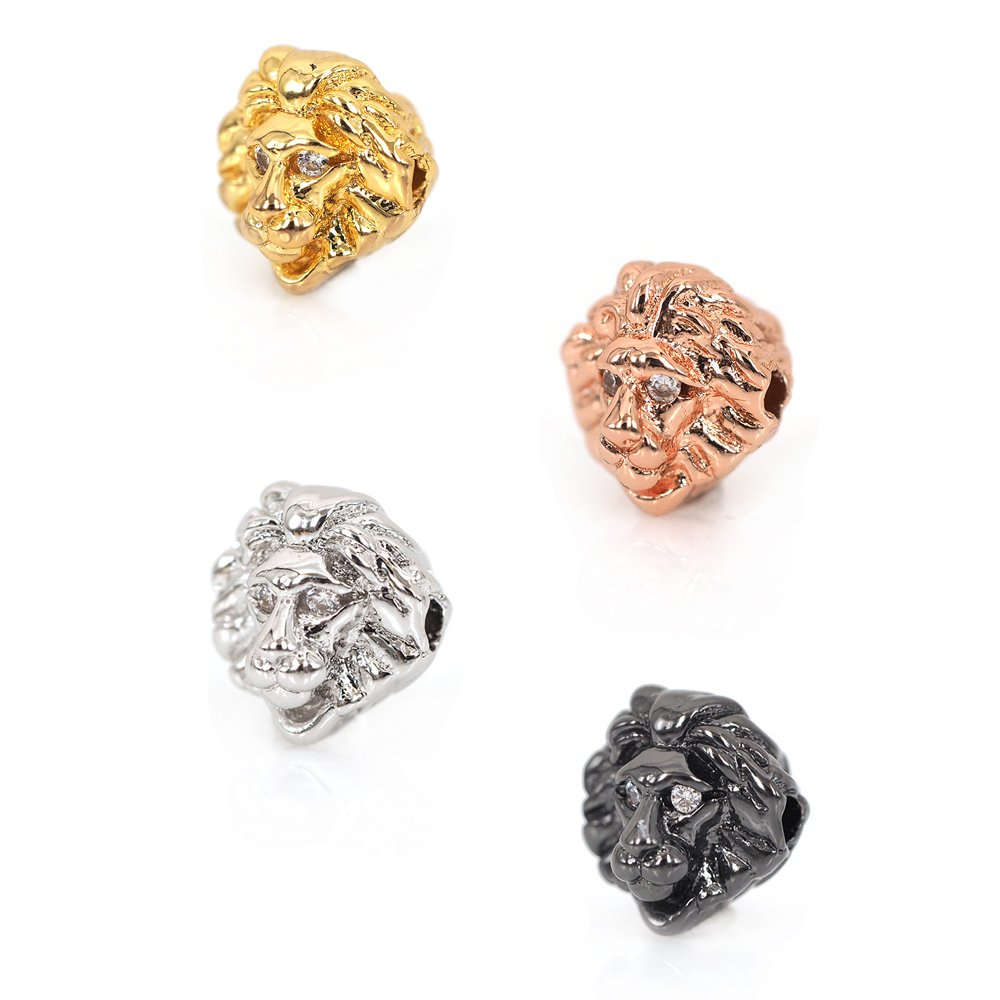 Lion Head Beads Pave CZ fit for Men's Gemstone Bracelet Spacer Bead Charms Jewelry Supply 10x10mm (10Pcs,MixColor) SouthBeat