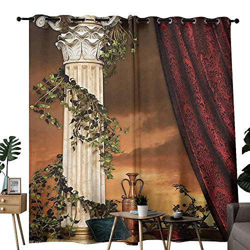Gothic Wedding Party Home Window Decoration Greek Style Scene Climber Pillow Fruits Vine and Red Curtain Ancient Figure SunMulticolor Curtains are Long Lasting W72 xL72