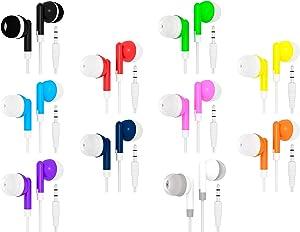 Bulk Wholesale Lot Kids Earbuds Headphones Earphones for Schools, Libraries, Hospitals, Gifts Individually Bagged (100 Pack, Multi)