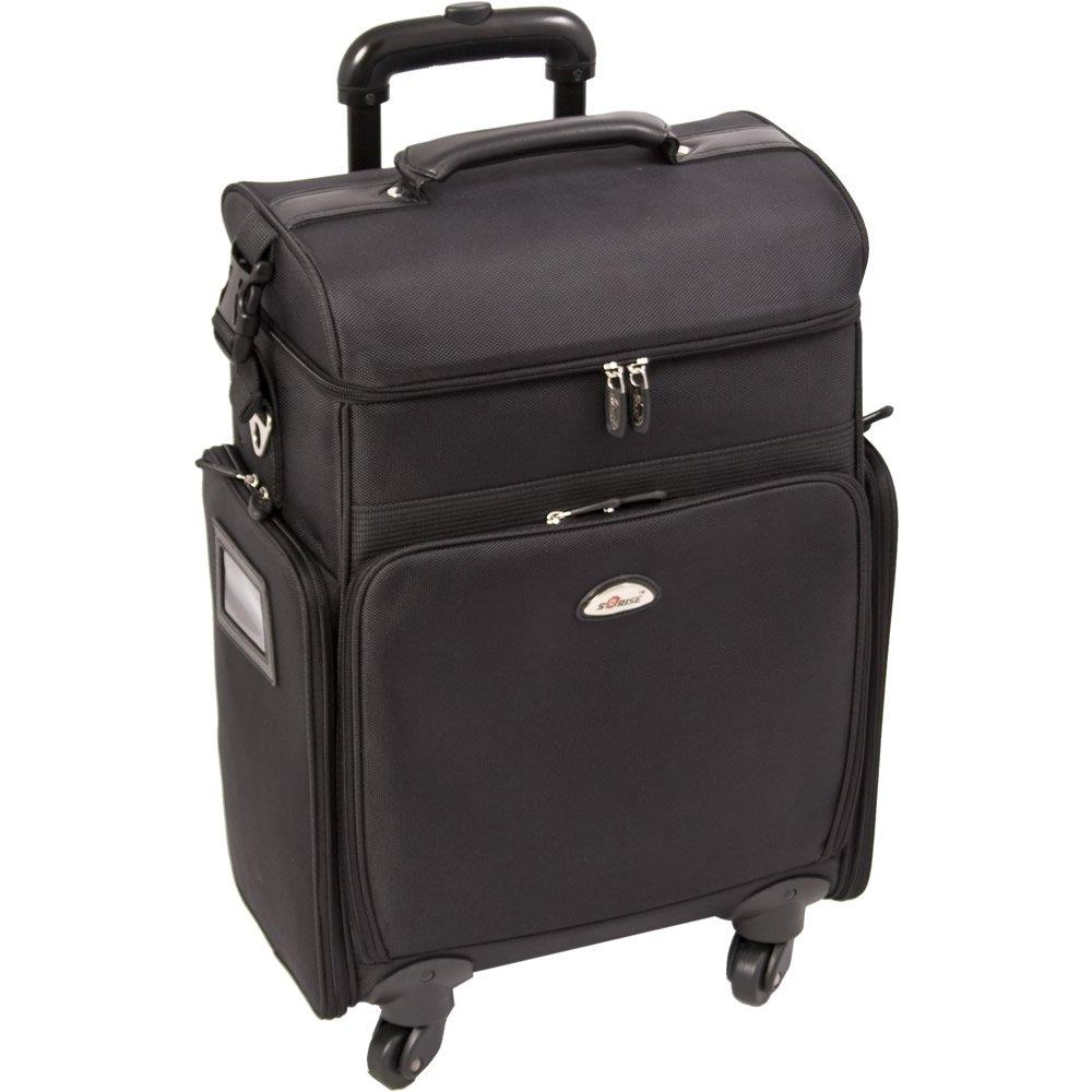 Sunrise Anatomia Rolling Soft Sided Makeup Case Professional Nail Travel Wheel Organizer, Black Canvas, 14 Pound