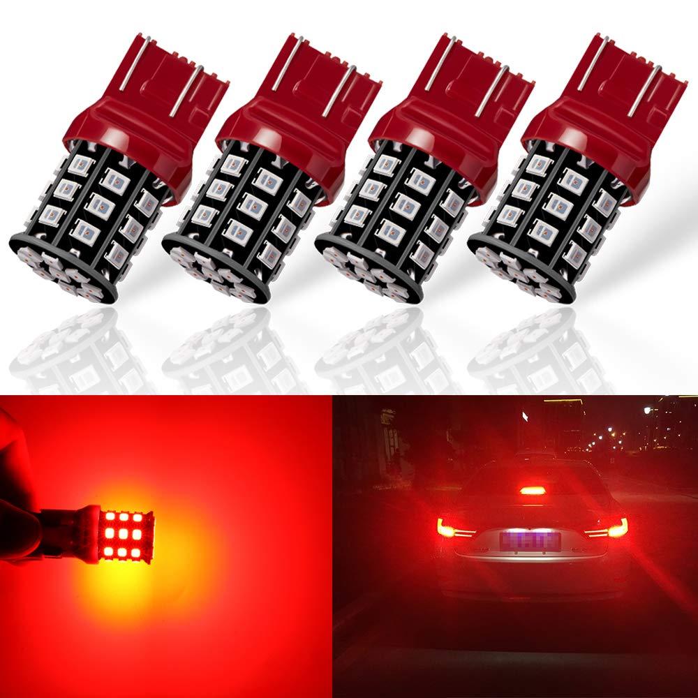 Turn Signal Lights Antline 3157 3156 3057 4157 3056 LED Bulbs Brilliant Red 12-24V Super Bright 800 Lumens Replacement for Tail Brake Lights Pack of 4 Parking Light