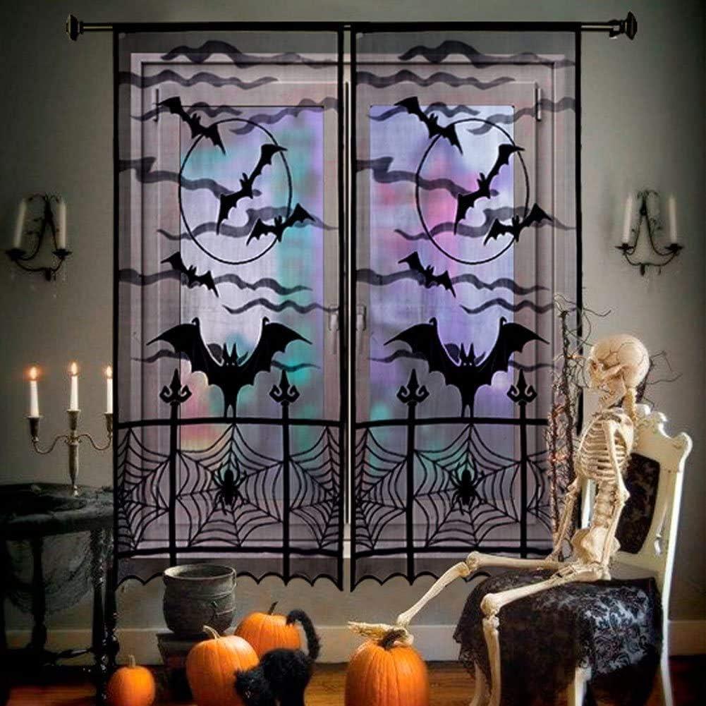AerWo 2pcs Halloween Curtains Spider Web Bats Halloween Window Curtain, Black Lace Door Curtain Panel Decor for Halloween Window Decorations, 40 x 84 Inch