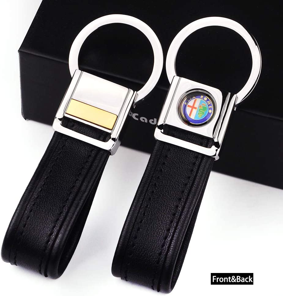 Cadtealir Highlight Stainless Steel Metal tab Lock bucle Inlaid with 18k Golden chip with Full Grain Nappa Leather Strap car Key Chain Lanyard Clips Ring for Alfa Romeo for Men Woman Accessories