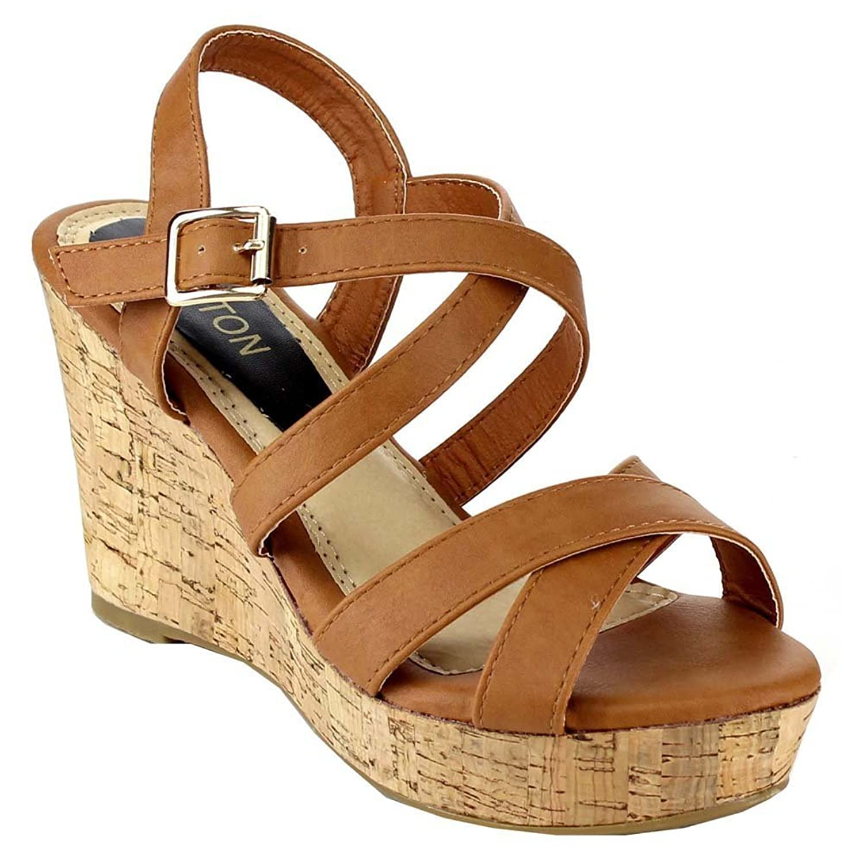 38a83749a418 Beston EA47 Women Strappy Criss Cross Slingback Wedge Sandal Run Half Size  Small