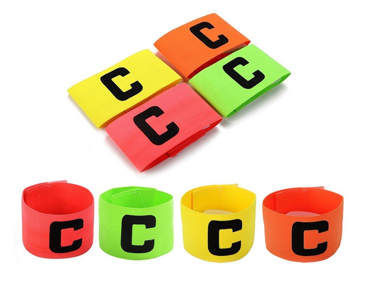 Fußball-Kapitänsschleife, mit zusätzlichem Gummiband als Sicherung, für Kinder und Erwachsene, 4er-Pack, 4 Farben Firelong