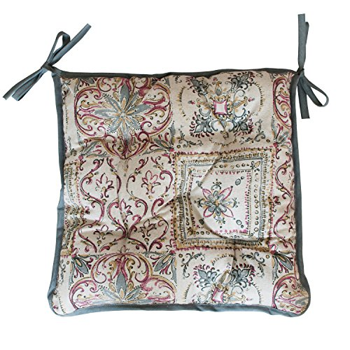 French Country Living Chair Pad - Provence Cotton Chair Cushion in French Country Style, 16'' x 16'', Grey Mosaic