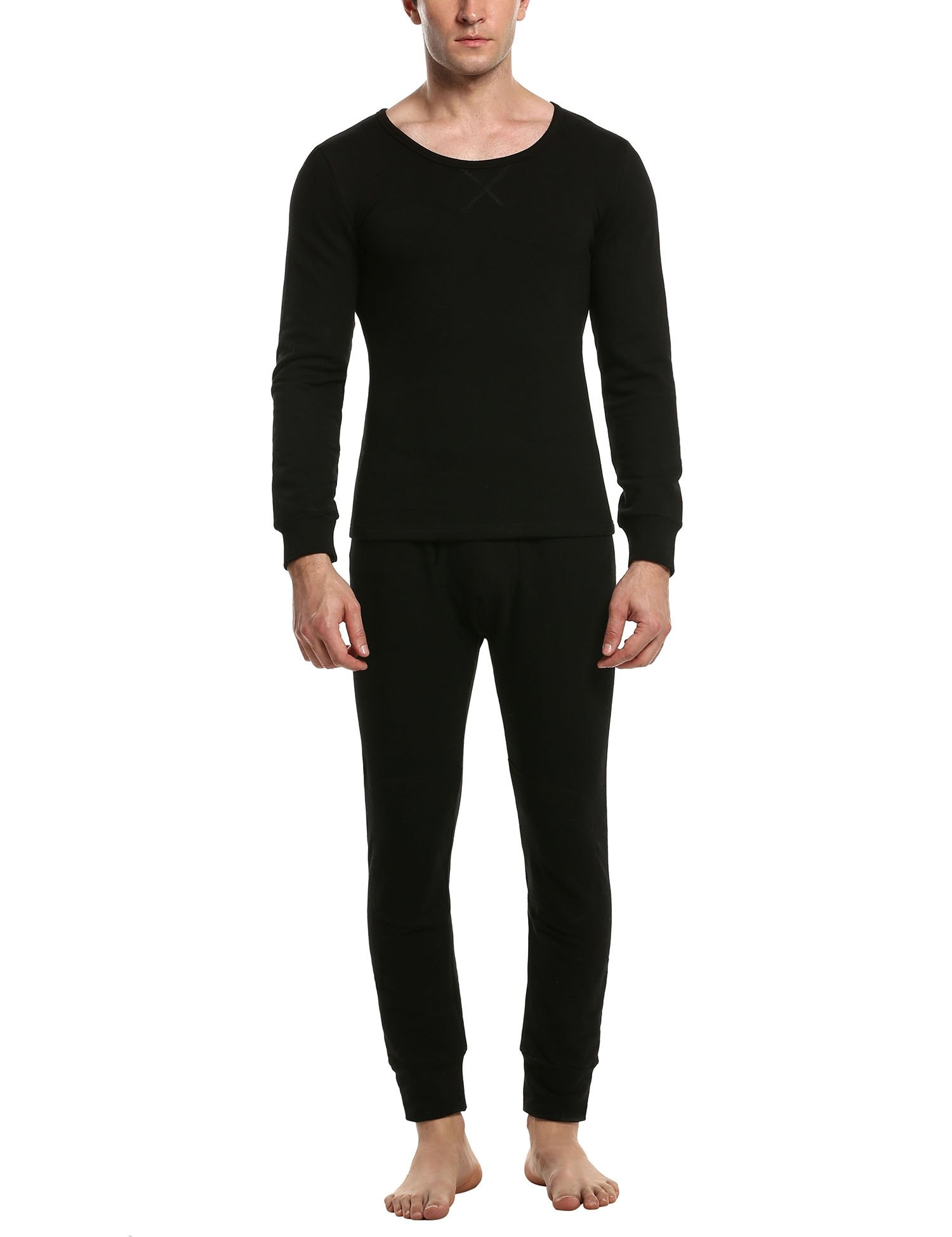 HOTOUCH Men's Thermal 2pc Set Long John Underwear for Fleece Lined Top and Pants Black XXL