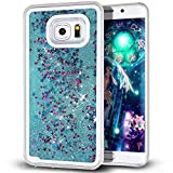 Samsung Galaxy S7 Edge case,Crosstree Liquid, Appmax Cool Quicksand Moving Stars Bling Glitter Floating Dynamic Flowing Case Liquid Cover for galaxy s7 edge. (Star Teal)