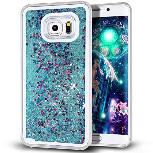 Samsung Galaxy S7 Edge case,Crosstree Liquid, Appmax Cool Quicksand Moving Stars Bling Glitter Floating Dynamic Flowing Case Liquid Cover for galaxy s7 edge. (Star Teal) (Samsung Note 2 Cases For Women compare prices)