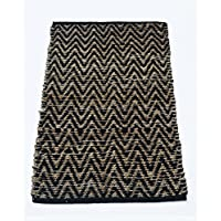 Chardin home Chevron Jute and soft cotton chenille Rug, Natural Jute/Black, Size: 22''X34''