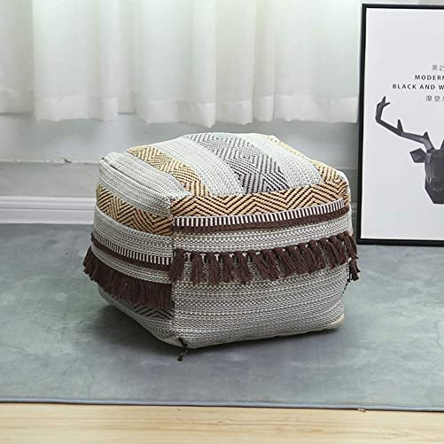 Riarevt Footstool Pouf, Pouf Cover Unstuffed, Ottoman Foot Pouf, Square Pouf Ottoman Boho, Soft Knitted Cotton Linen Pouf, Poufs for Living Room Bedroom Light Brown Su Jin, 16.5 x16.5 x12.9