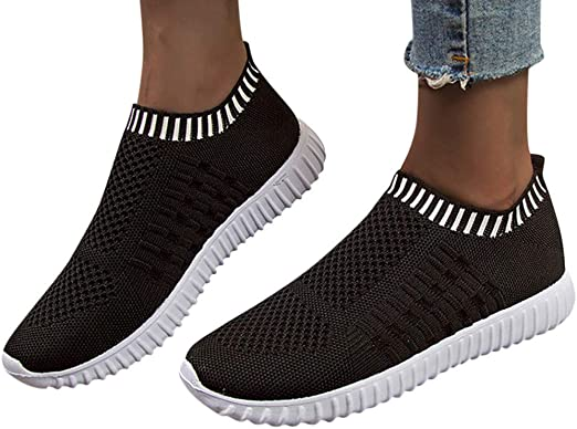 Dainzuy Womens Casual Walking Shoes Lightweight Running Athletic Comfortable Breathable Mesh Slip-on Tennis Sneakers
