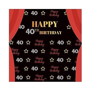 Cassisy 2,5x2,5m Vinilo Telon de Fondo 40 cumpleaños telón de Fondo Cortina roja Fiesta de cumpleaños Estrella Fondos para Fotografia Party bebé ...