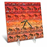3dRose Uta Naumann Faux Glitter Pattern - Luxury Shiny Chic Animal Elephant Africa Safari Pattern on Faux Metal - 6x6 Desk Clock (dc_269041_1)