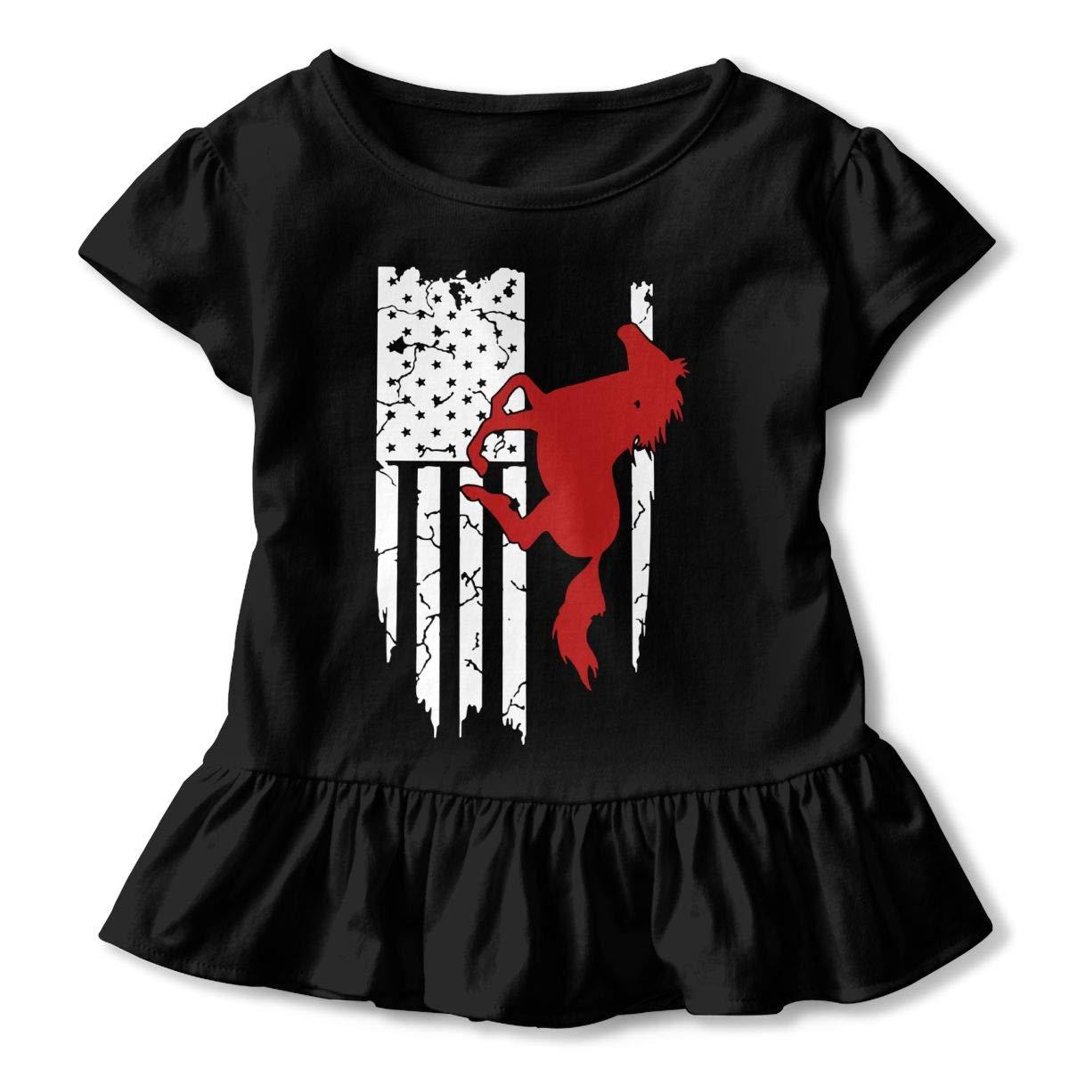 2-Pack Cotton Tee Horse American Flag Baby Girls Short Sleeve Ruffles T-Shirt Tops