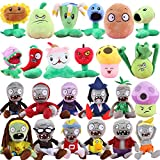 Plants vs Zombies 2 PVZ Figures Plush Toys Set (24pcs) Baby Staff Toy Stuffed Soft Doll Lot 15-20cm/6''-8'' Tall