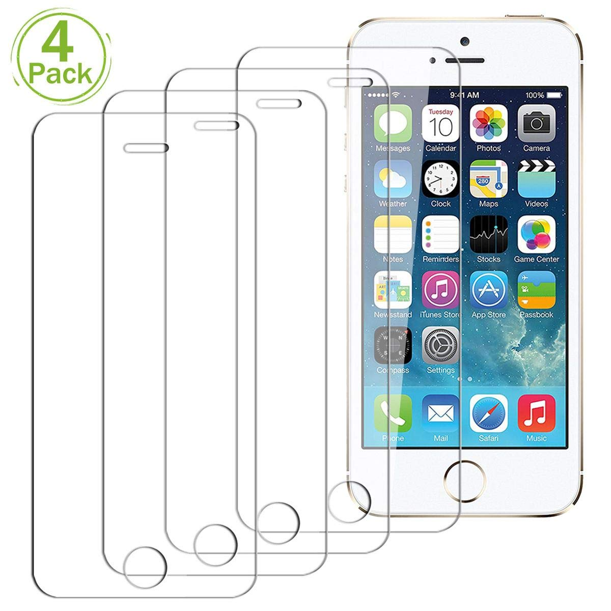 4 Paquetes Protector de Pantalla para iPod Touch 5 // iPod Touch 6, Anti-Scratch HD Transparente Screen Protector Cristal Templado JEEXIA/® Dureza 9H, Borde 2.5D