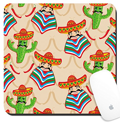Luxlady Suqare Mousepad 8x8 Inch Mouse Pads/Mat design IMAGE ID: 24893163 Mexican pattern with cactus hat and chill illustration over background
