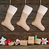 Sumind 6 Packs Burlap Christmas Stockings for Christmas Decorations or DIY