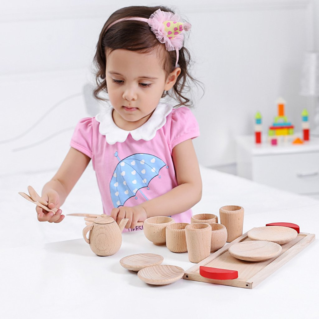 B Blesiya 16-Piece Kids Tea Party Set Wooden Teapot Coffee Cups Role Play Toy for Kids