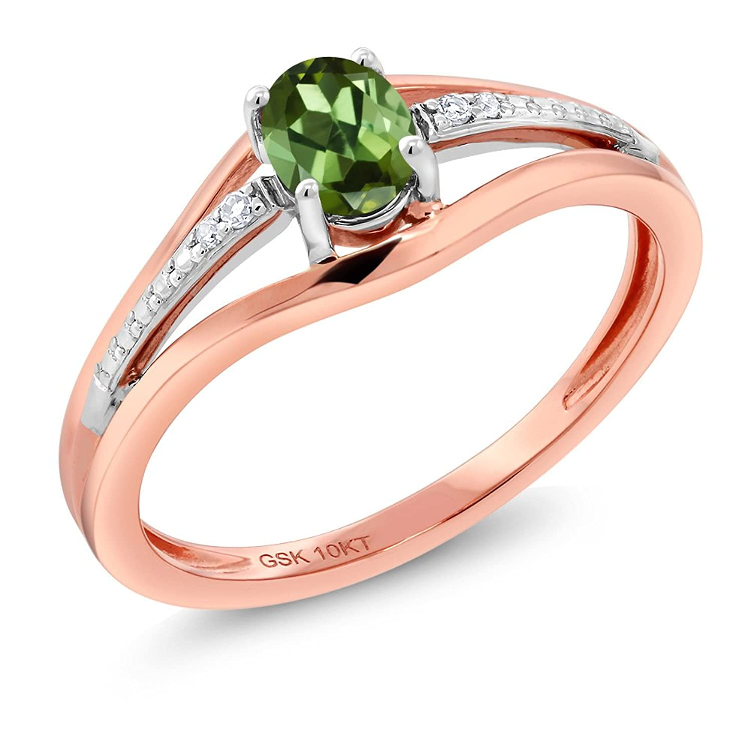 10K Two Tone Gold 0.33 Ct Green Tourmaline and Diamond Engagement Ring - Sizes 5 - 9