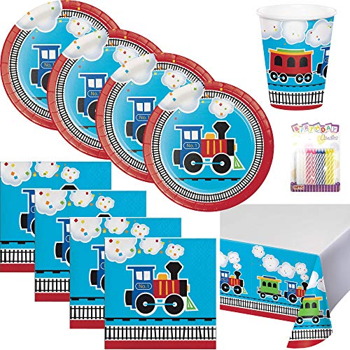 Lobyn Value Packs All Aboard Train 1st Party Supplies Pack Serves 16: Dessert Plates, Beverage Napkins, Cups, Table Cover - First Party Tableware Supply Set Kit Includes Birthday Candles