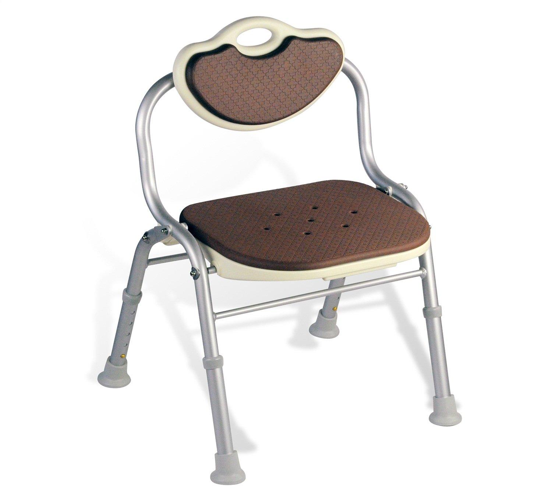 シャワー/バススツール高齢者/障害者のためのアルミ合金シャワーシートスツールアンチスリップマットシャワー椅子背もたれバス付き5つの高さで調節可能シャワーの椅子ヘビーデューティーコーヒー   B07F32TZRD