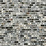 Deep Sea Black Mini Brick Pattern Pearl Shell Tile For Kitchen Backsplash & Bathroom Walls