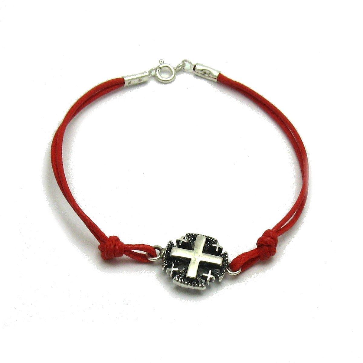 Pulsera de plata de ley 925 Cruz de Jerusalén con cuerda roja