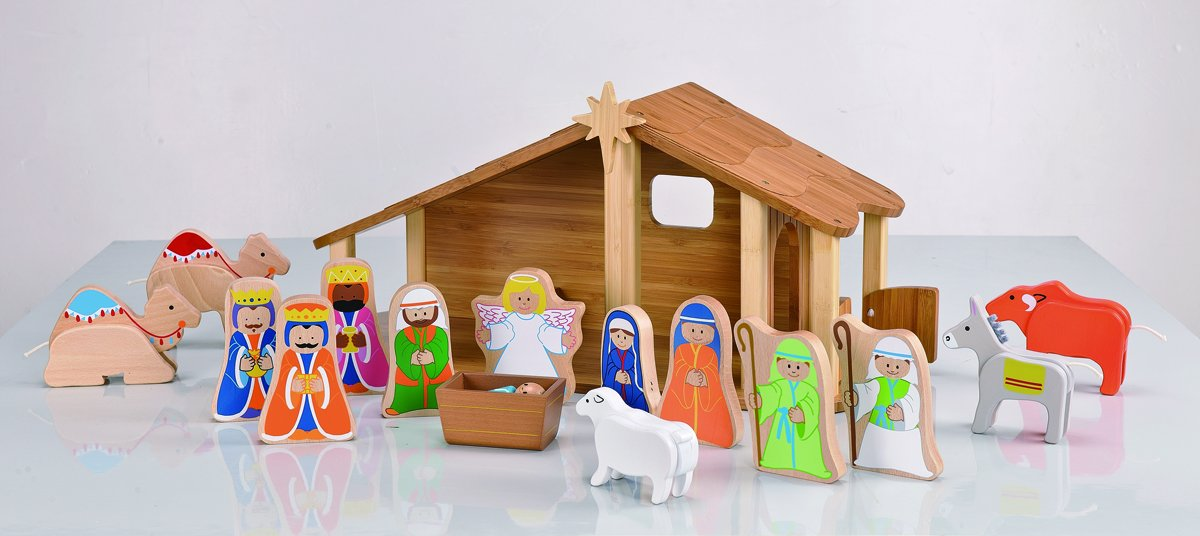 amazoncom everearth bamboo nativity with figures and animals ee33512 toys u0026 games - Wooden Nativity Set