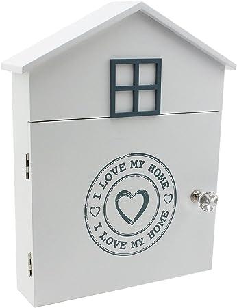 com-four® Caja de Madera para Llaves Amo mi casa con 6 Ganchos y Cerradura magnética en la Puerta: Amazon.es: Hogar