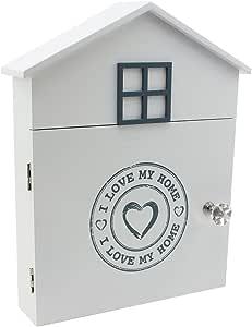 com-four® Caja de Madera para Llaves Amo mi casa con 6 Ganchos y ...