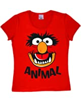 Logoshirt Frauen T-Shirt Tier - Gesicht - Muppet Show - Animal - Faces - Rundhals T-Shirt von Rot - Lizenziertes Originaldesign