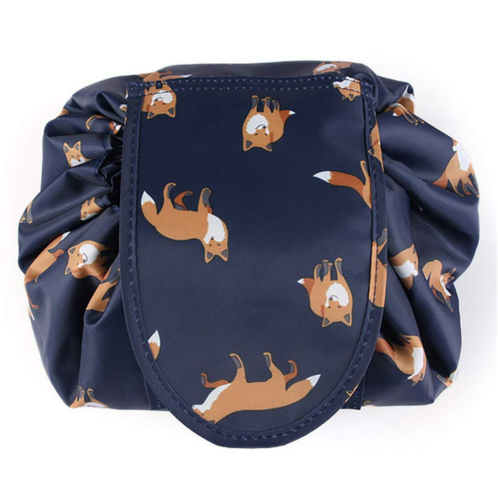 3a73ed60eef8 Adigow Lazy Drawstring Cosmetic Bag Large fox Makeup Bag Waterproof  Portable Quick Pack Travel Bag for Women
