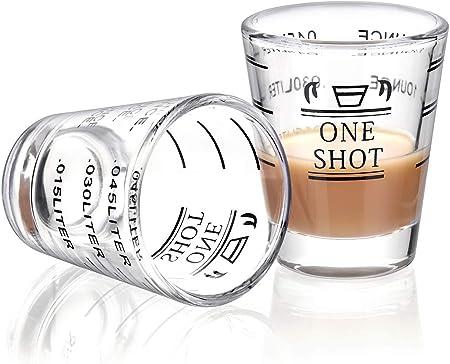 Vasos medidores de vaso de cristal líquido para copas de vino, vidrio de espresso, 26 aumentos, medidas: 4 unidades, 45 ml 2 Pack-45 Ml: Amazon.es: Hogar