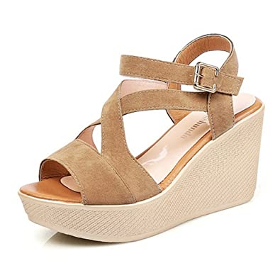 587b26b51b7d9 CYBLING Women s Casual Open Toe Strappy Mid Heel Wedge Sandals Summer  Platform Shoes Apricot