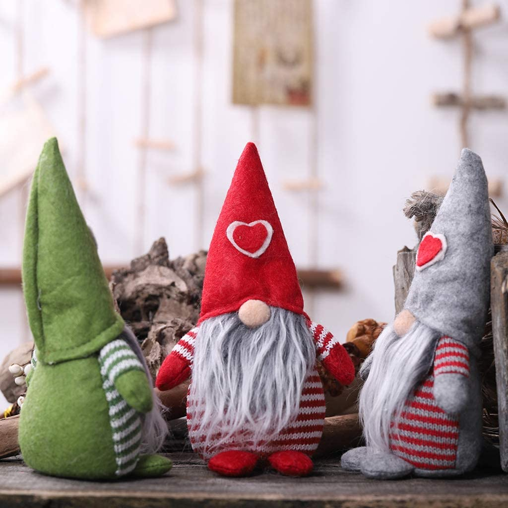 Huwaioury Merry Christmas Heart Hat Swedish Santa Gnome Plush Doll Ornaments Handmade Elf Toy Holiday Home Party Decoration