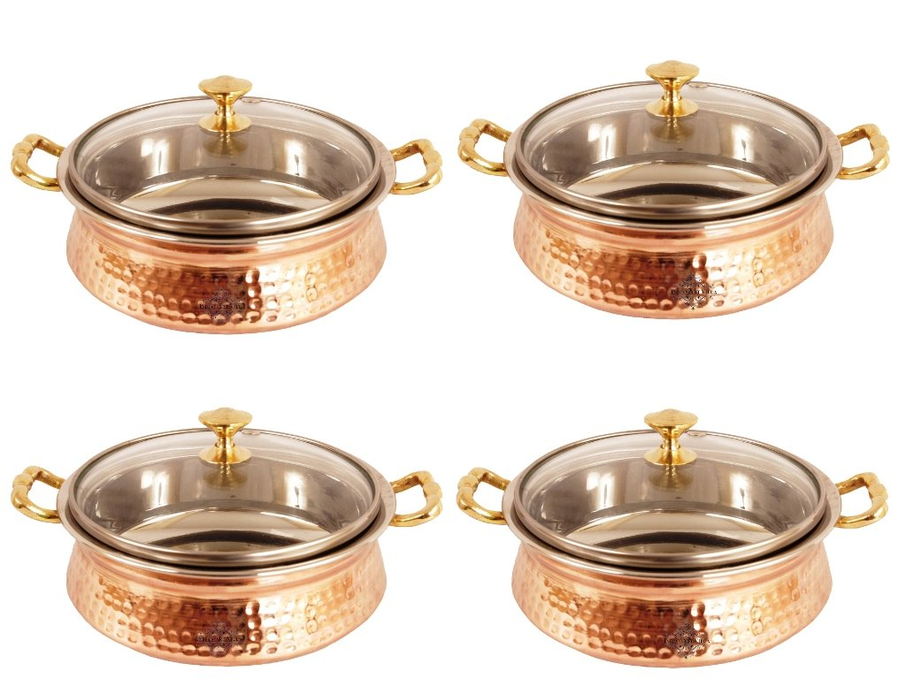 IndianArtVilla Handmade Steel Copper Casserole with Glass Lid | 27 OZ Ethnic and Classic Look | For Serving Hot and Healthy Food ( Set of 4 )