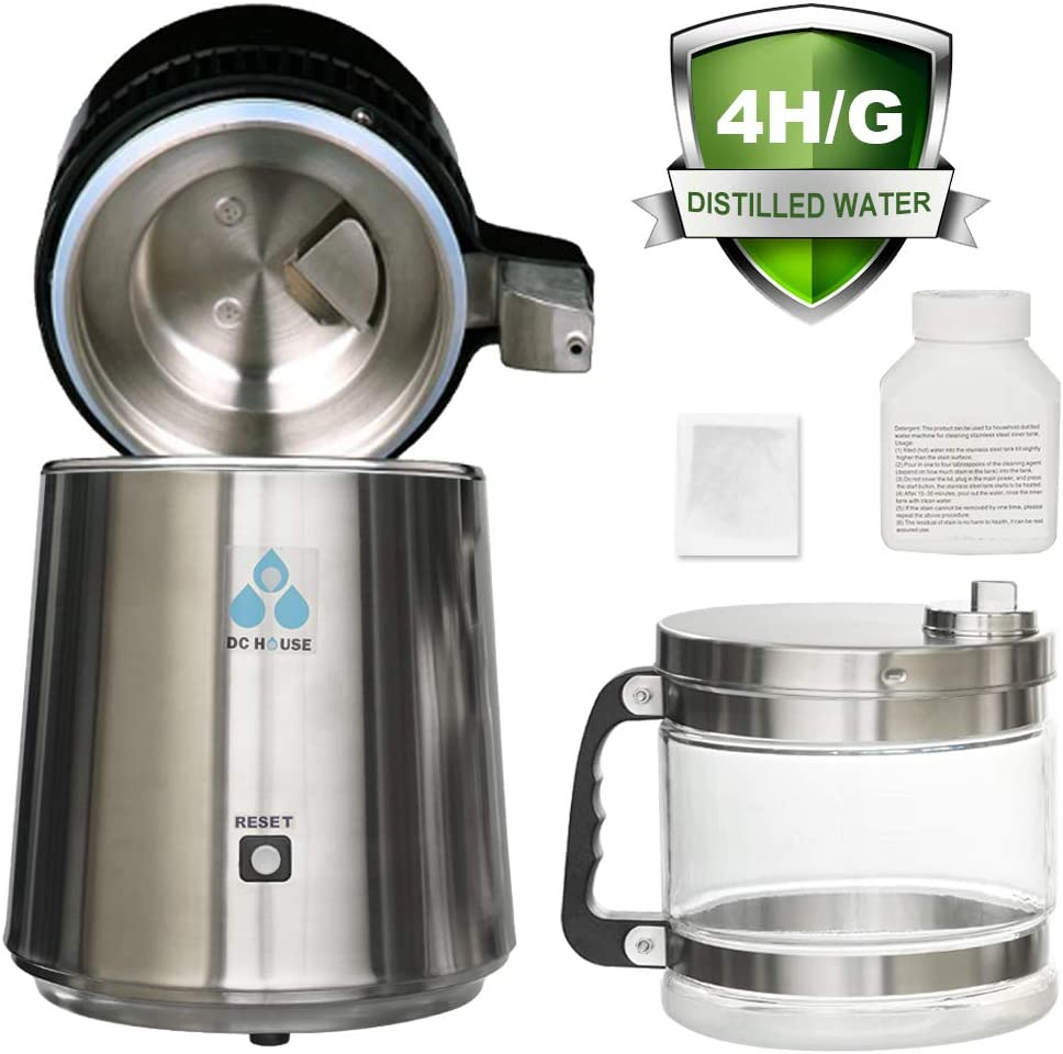 DC HOUSE 1 Gallon Countertop Water Distiller Stainless Steel Distiller with Glass Filter and Most Effective VOC Removal