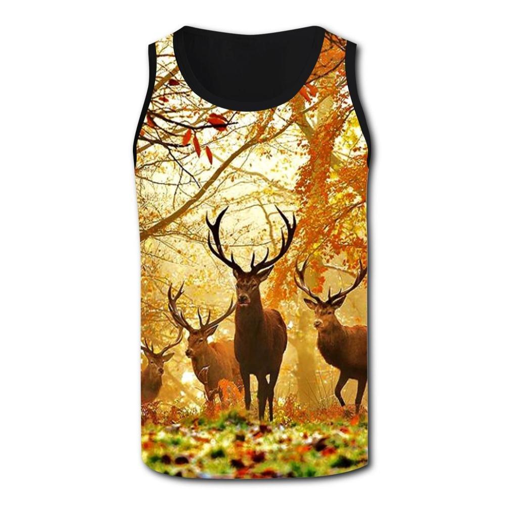 Gjghsj2 Cartoon Deer Tank Top Vest Shirts Singlet Tops Sleeveless Underwaist for Men Basketball