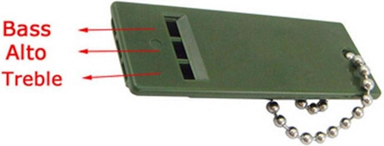 Three Different Tones Survival Whistle 2-3//4 x 1 Key Chain Durable Black Plastic